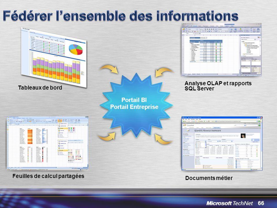 66 Feuilles de calcul partagées Analyse OLAP et rapports SQL Server Tableaux de bord Documents métier Portail BI Portail Entreprise