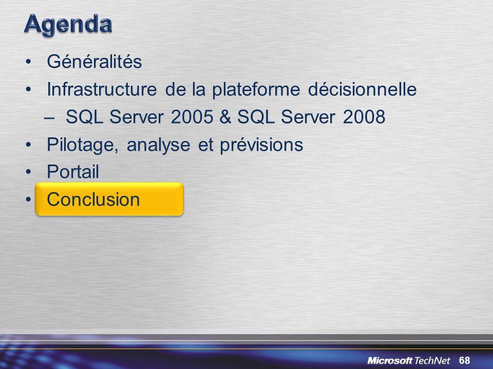 68 Généralités Infrastructure de la plateforme décisionnelle –SQL Server 2005 & SQL Server 2008 Pilotage, analyse et prévisions Portail Conclusion