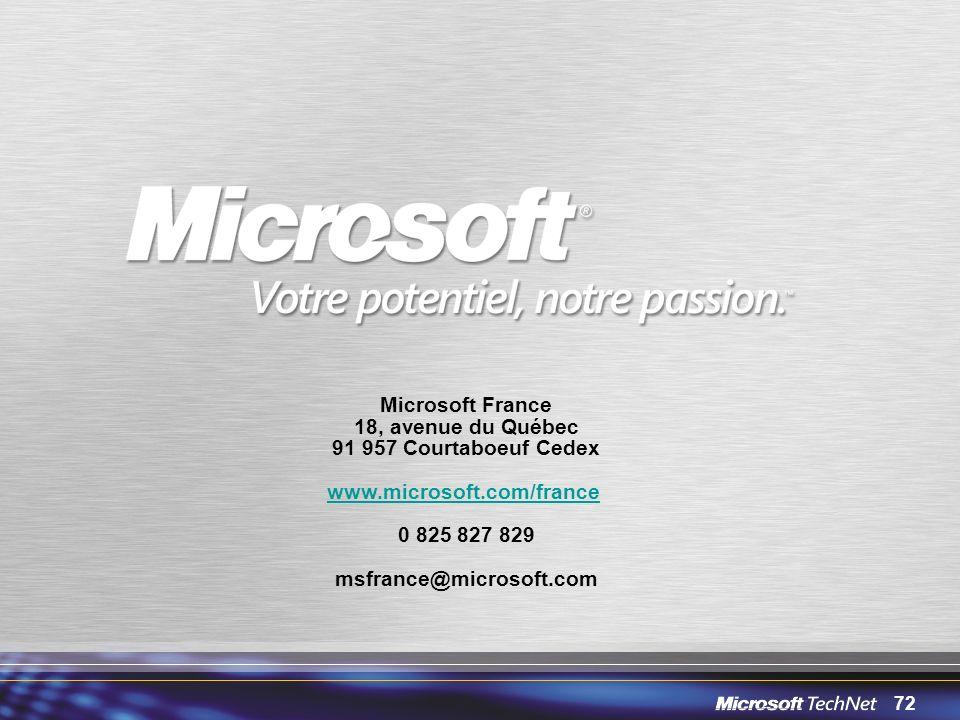 72 Microsoft France 18, avenue du Québec 91 957 Courtaboeuf Cedex www.microsoft.com/france 0 825 827 829 msfrance@microsoft.com