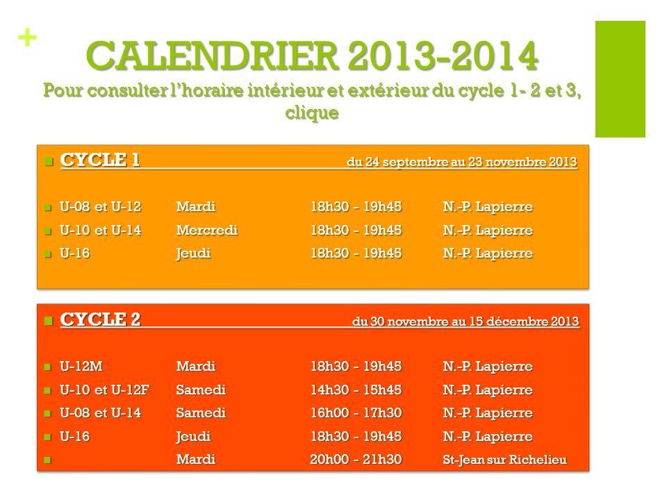 + CALENDRIER 2013-2014 Pour consulter lhoraire intérieur et extérieur du cycle 1- 2 et 3, clique