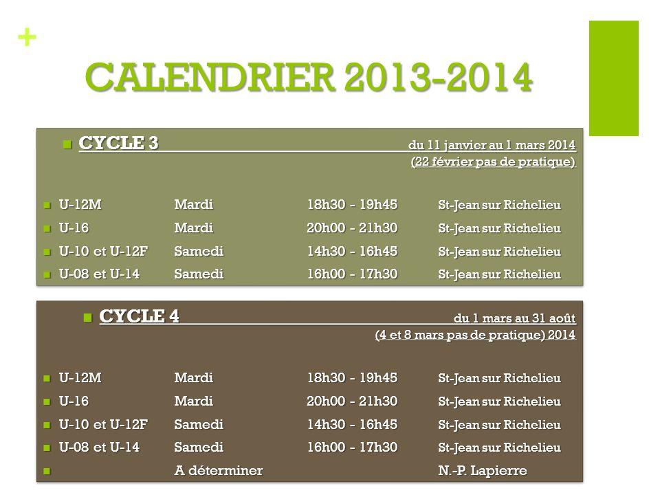 + CALENDRIER 2013-2014