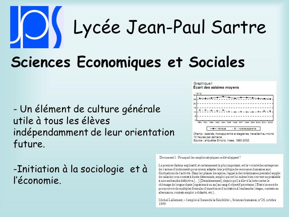 Lycée Jean-Paul Sartre Principes Fondamentaux de lEconomie et de la Gestion.