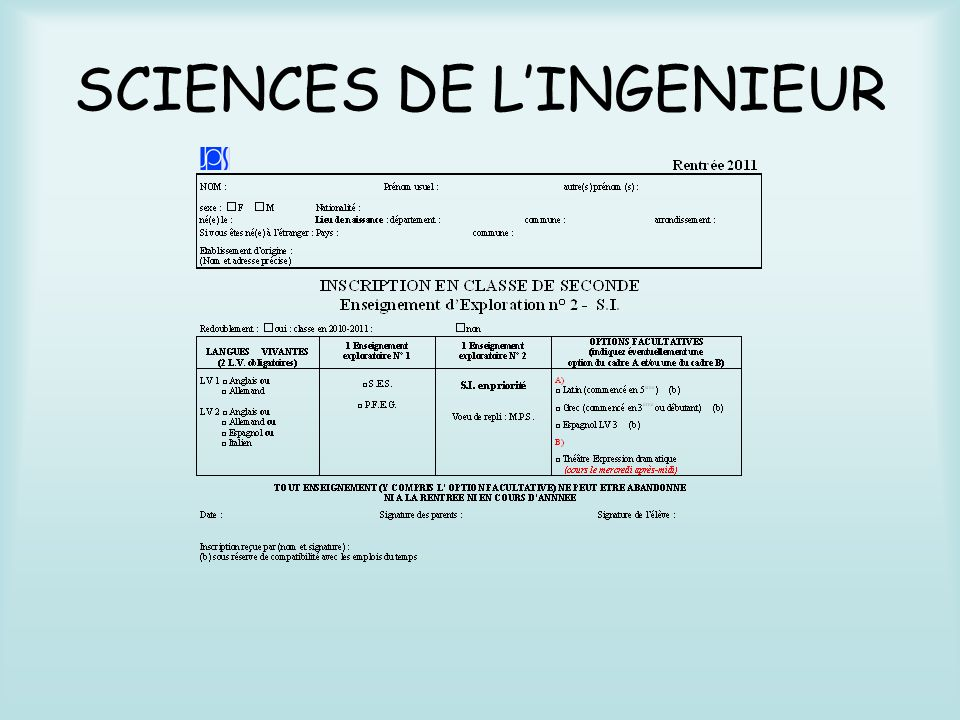 SCIENCES DE LINGENIEUR