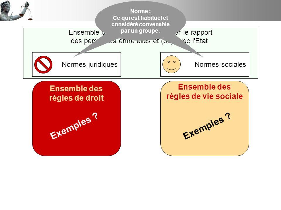 Ensemble des règles pour organiser le rapport des personnes entre elles et (ou) avec lEtat Normes juridiquesNormes sociales Norme : Ce qui est habitue