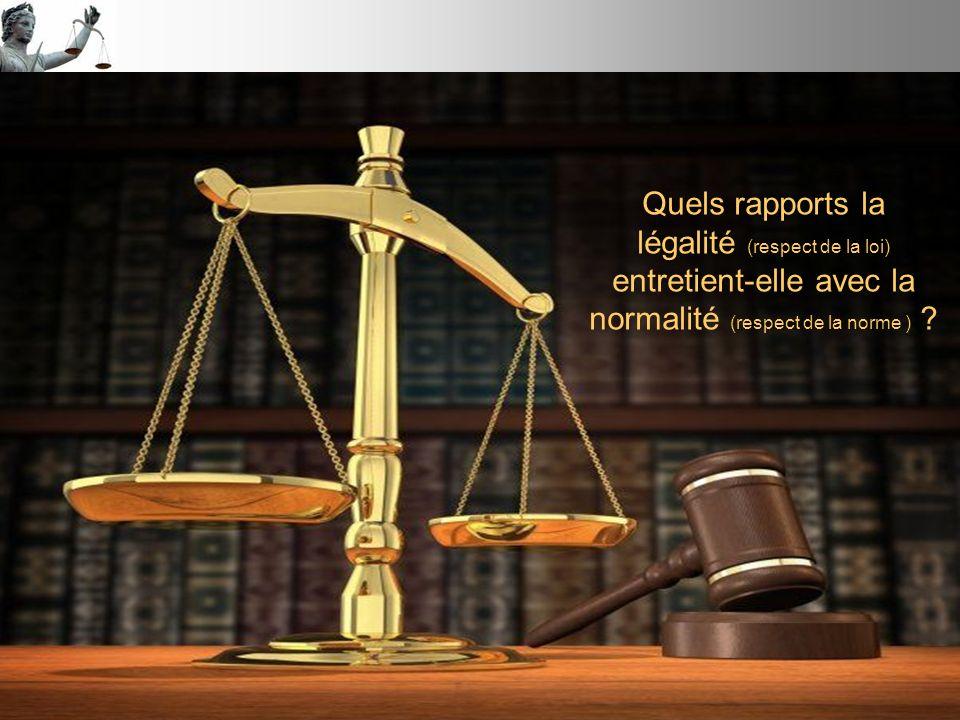 Quels rapports la légalité (respect de la loi) entretient-elle avec la normalité (respect de la norme ) ?