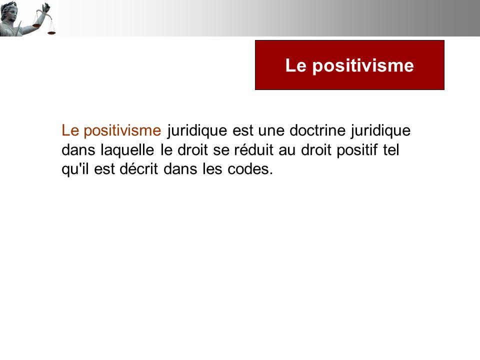 Le positivisme juridique est une doctrine juridique dans laquelle le droit se réduit au droit positif tel qu'il est décrit dans les codes. Le positivi