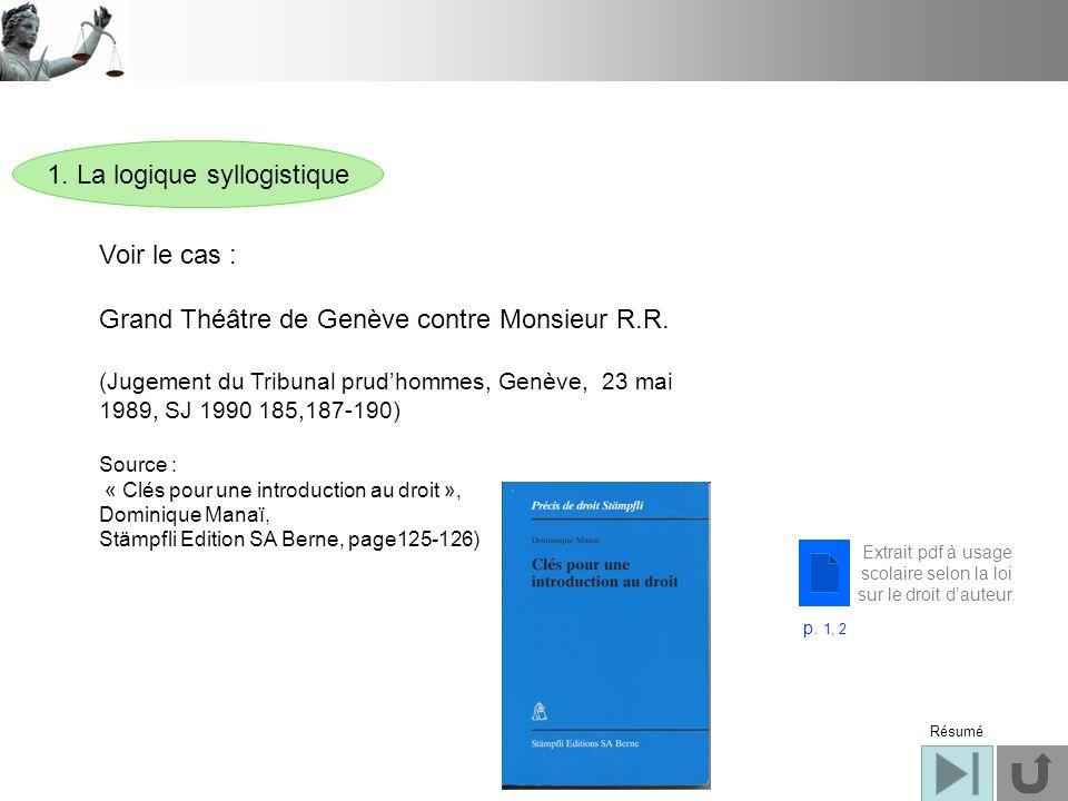 1. La logique syllogistique Voir le cas : Grand Théâtre de Genève contre Monsieur R.R. (Jugement du Tribunal prudhommes, Genève, 23 mai 1989, SJ 1990