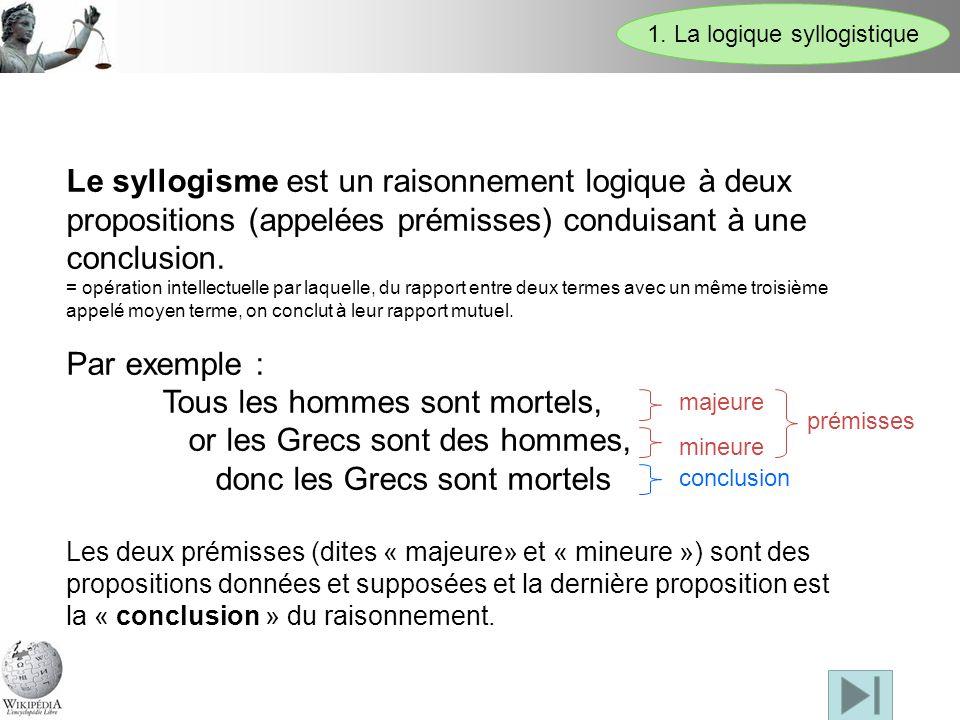 Le syllogisme est un raisonnement logique à deux propositions (appelées prémisses) conduisant à une conclusion. = opération intellectuelle par laquell