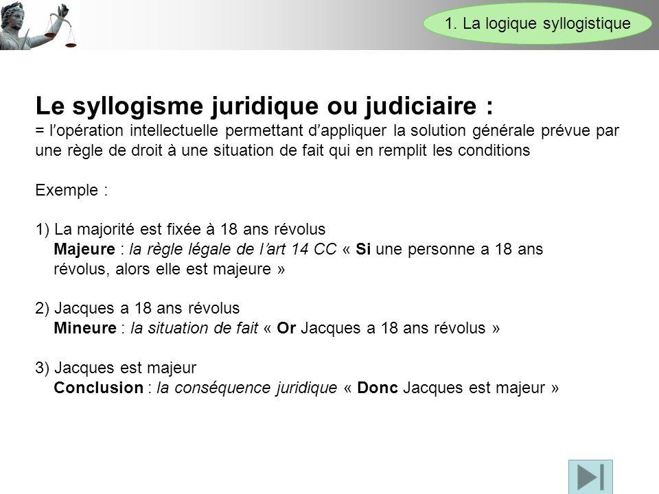 Le syllogisme juridique ou judiciaire : = l ' opération intellectuelle permettant d ' appliquer la solution générale prévue par une règle de droit à u