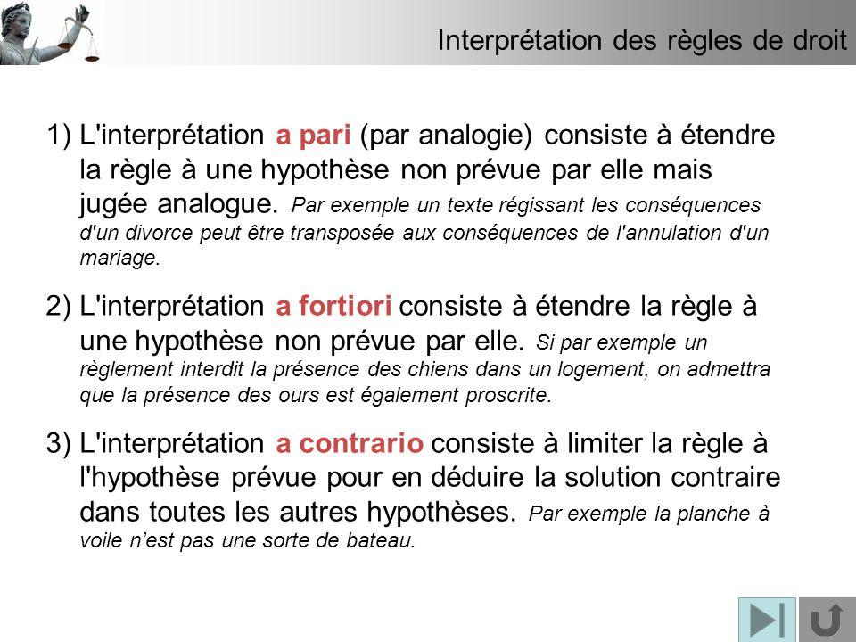 Interprétation des règles de droit 1)L'interprétation a pari (par analogie) consiste à étendre la règle à une hypothèse non prévue par elle mais jugée