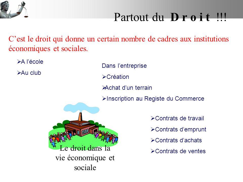 Le droit dans la vie économique et sociale Partout du D r o i t !!! Cest le droit qui donne un certain nombre de cadres aux institutions économiques e