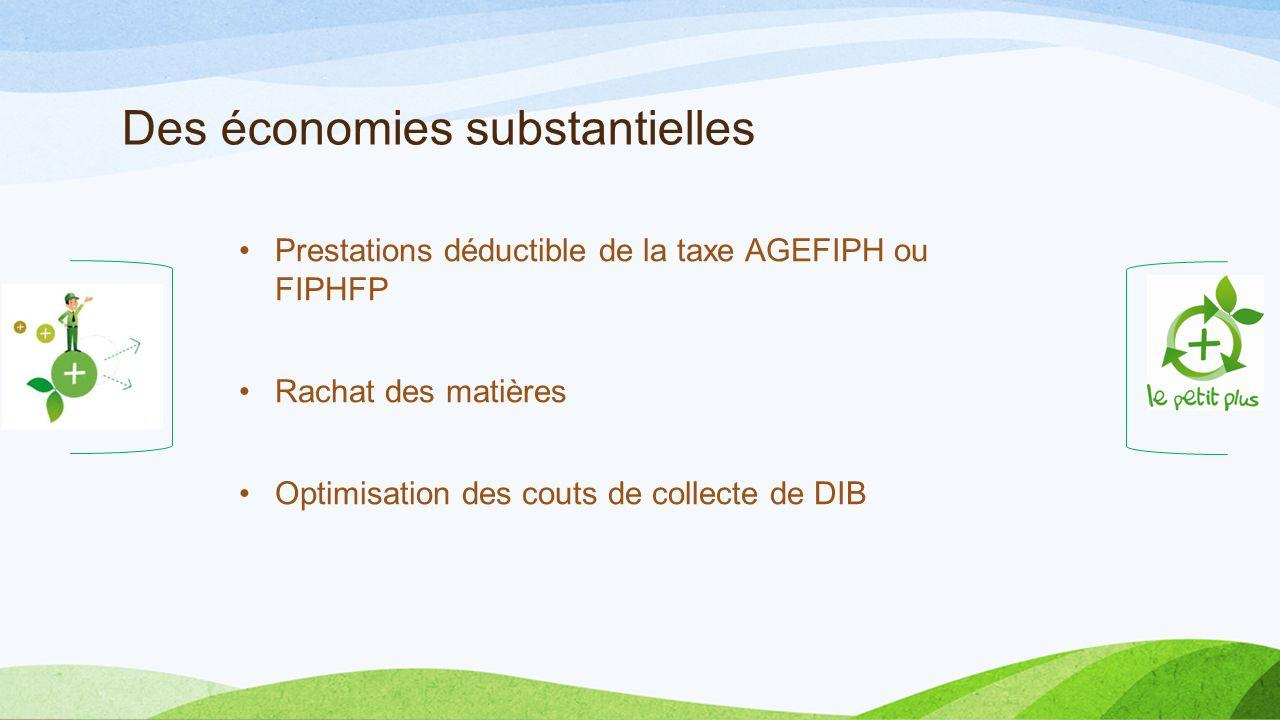 Des économies substantielles Prestations déductible de la taxe AGEFIPH ou FIPHFP Rachat des matières Optimisation des couts de collecte de DIB