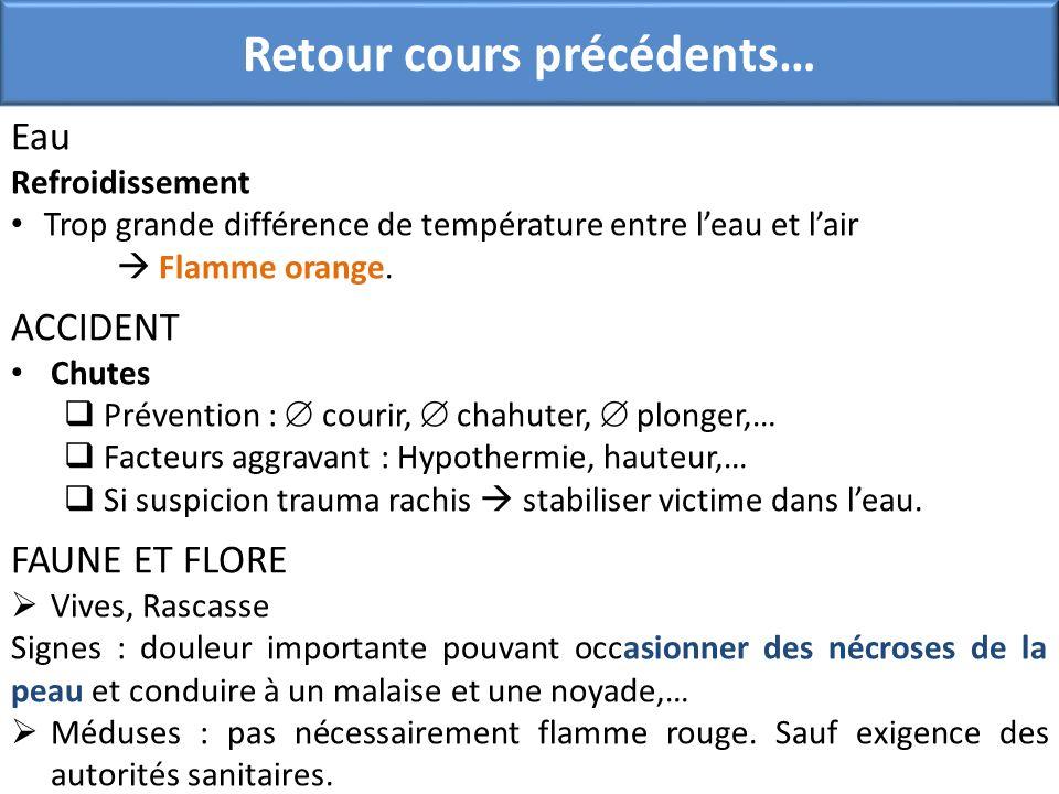 Retour cours précédents… Eau Refroidissement Trop grande différence de température entre leau et lair Flamme orange. ACCIDENT Chutes Prévention : cour