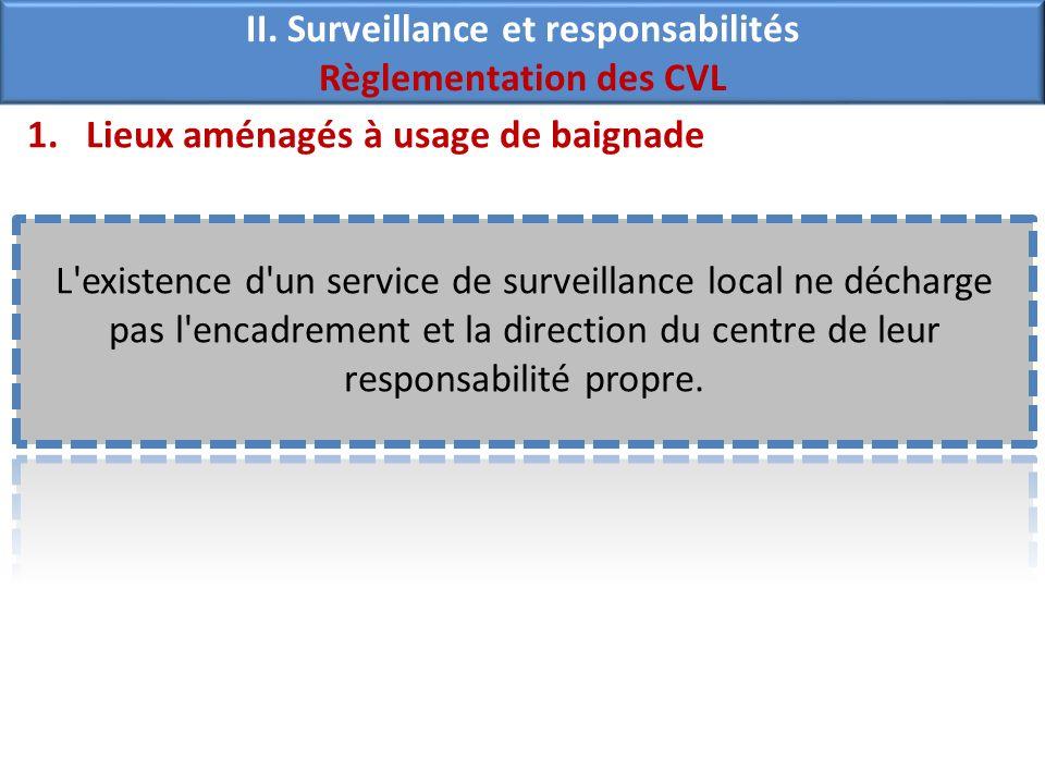 1.Lieux aménagés à usage de baignade L existence d un service de surveillance local ne décharge pas l encadrement et la direction du centre de leur responsabilité propre.