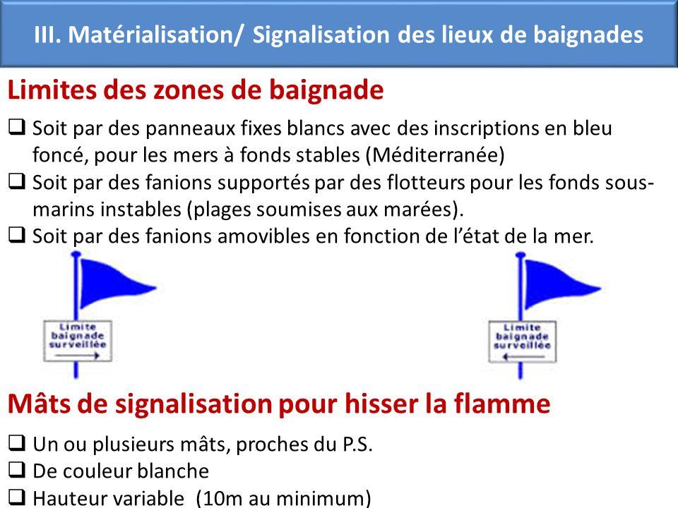 Limites des zones de baignade Soit par des panneaux fixes blancs avec des inscriptions en bleu foncé, pour les mers à fonds stables (Méditerranée) Soi