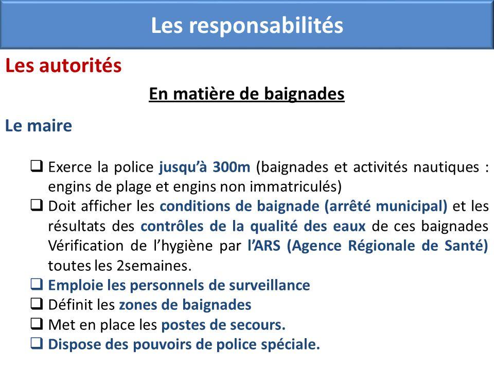 En matière de baignades Le maire Exerce la police jusquà 300m (baignades et activités nautiques : engins de plage et engins non immatriculés) Doit aff