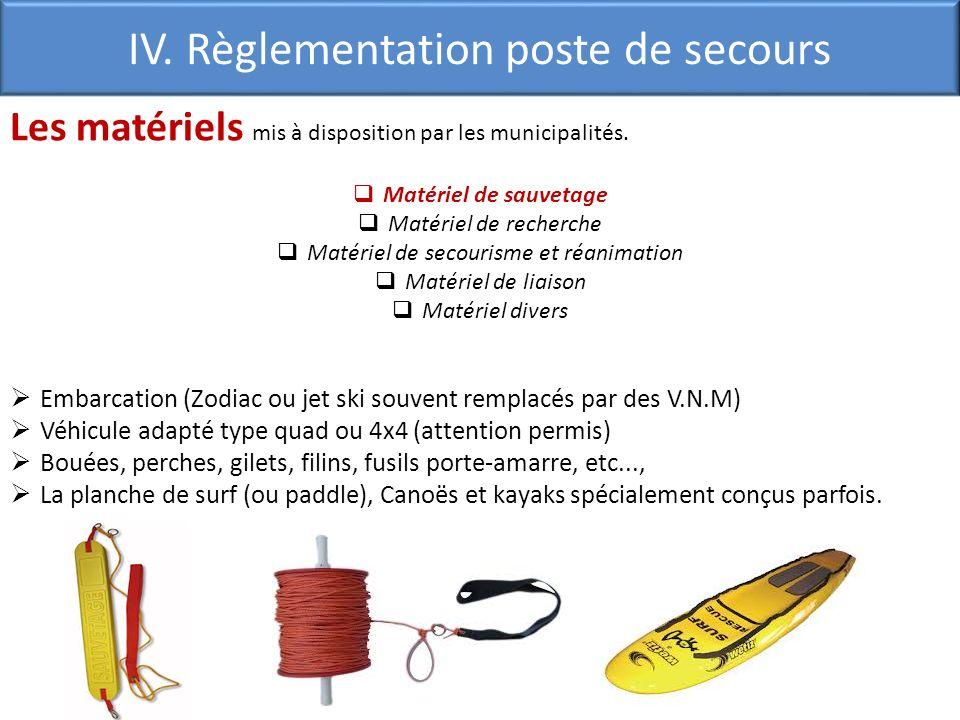 Les matériels mis à disposition par les municipalités. Matériel de sauvetage Matériel de recherche Matériel de secourisme et réanimation Matériel de l