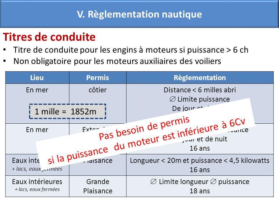 V. Règlementation nautique Titres de conduite Titre de conduite pour les engins à moteurs si puissance > 6 ch Non obligatoire pour les moteurs auxilia