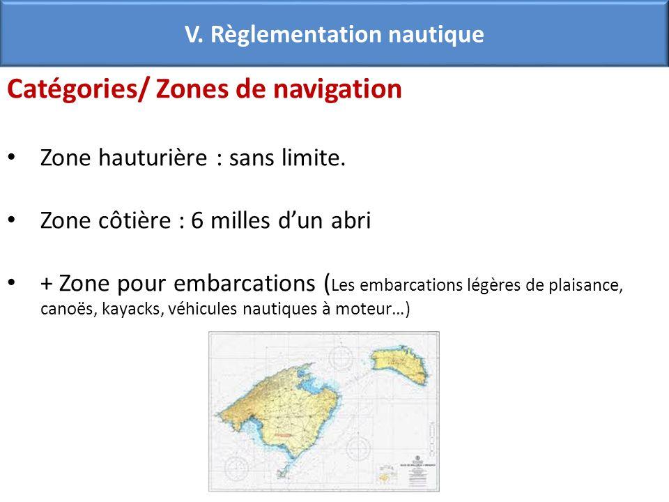 Catégories/ Zones de navigation Zone hauturière : sans limite. Zone côtière : 6 milles dun abri + Zone pour embarcations ( Les embarcations légères de