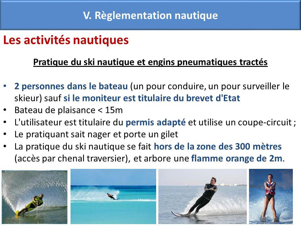 Les activités nautiques Pratique du ski nautique et engins pneumatiques tractés 2 personnes dans le bateau (un pour conduire, un pour surveiller le sk