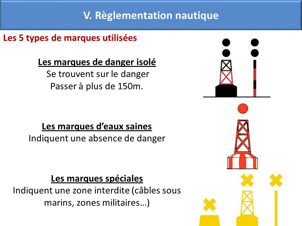 Les 5 types de marques utilisées Les marques de danger isolé Se trouvent sur le danger Passer à plus de 150m. Les marques deaux saines Indiquent une a