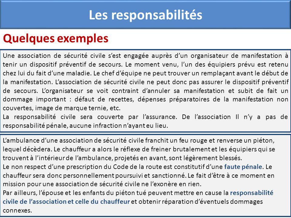 Quelques exemples Les responsabilités Une association de sécurité civile sest engagée auprès dun organisateur de manifestation à tenir un dispositif p