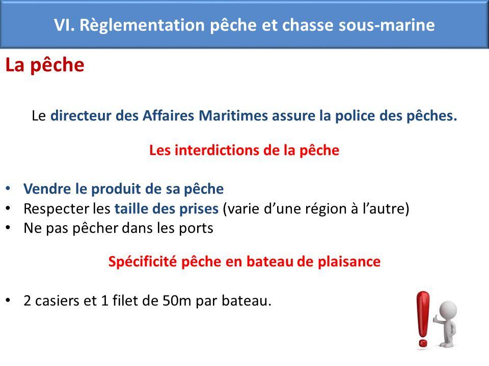 Le directeur des Affaires Maritimes assure la police des pêches. Les interdictions de la pêche Vendre le produit de sa pêche Respecter les taille des