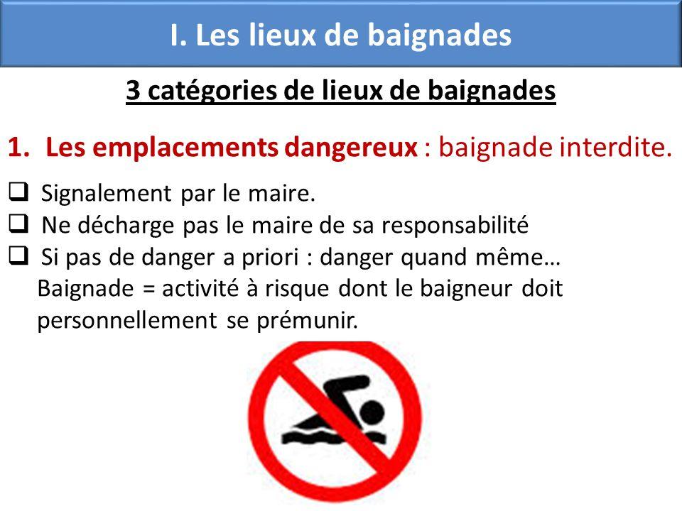 I. Les lieux de baignades 3 catégories de lieux de baignades 1.Les emplacements dangereux : baignade interdite. Signalement par le maire. Ne décharge