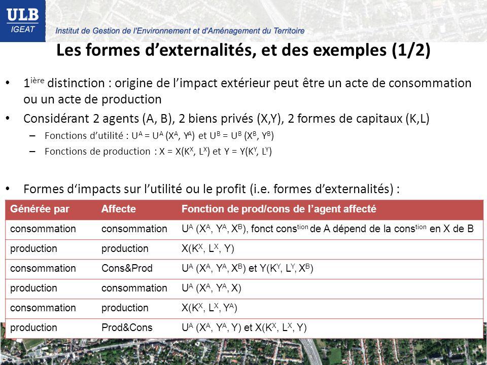 Les formes dexternalités, et des exemples (1/2) 1 ière distinction : origine de limpact extérieur peut être un acte de consommation ou un acte de production Considérant 2 agents (A, B), 2 biens privés (X,Y), 2 formes de capitaux (K,L) – Fonctions dutilité : U A = U A (X A, Y A ) et U B = U B (X B, Y B ) – Fonctions de production : X = X(K X, L X ) et Y = Y(K Y, L Y ) Formes dimpacts sur lutilité ou le profit (i.e.