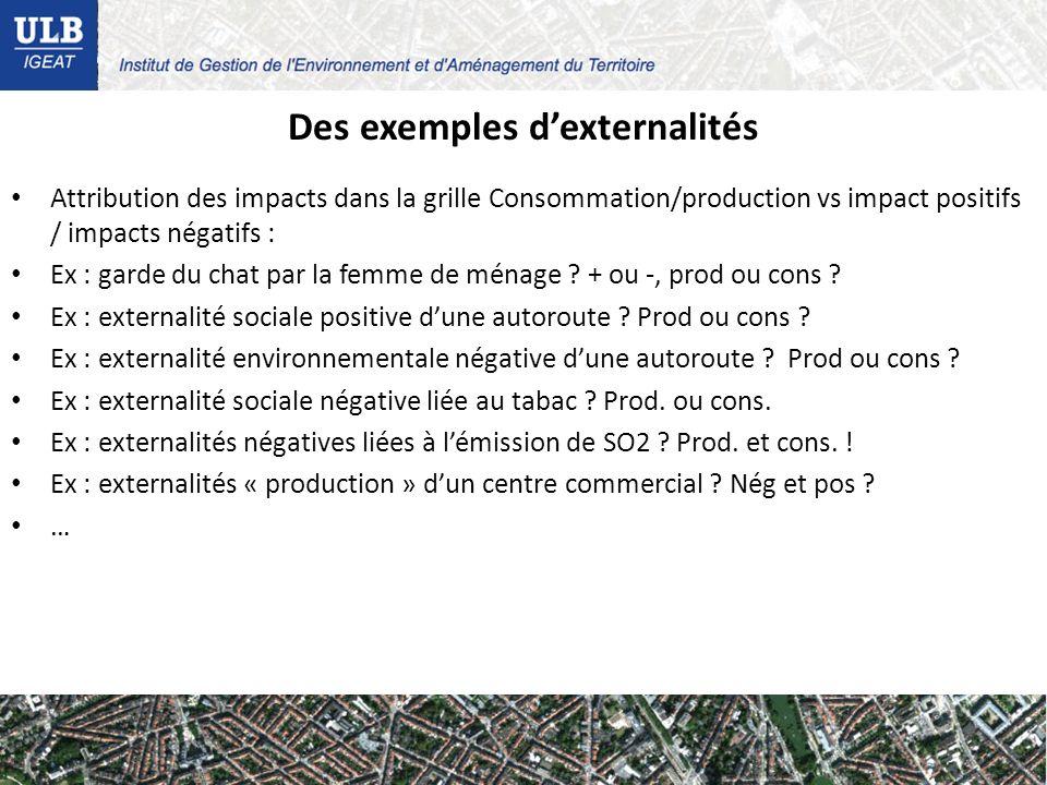 Des exemples dexternalités Attribution des impacts dans la grille Consommation/production vs impact positifs / impacts négatifs : Ex : garde du chat par la femme de ménage .