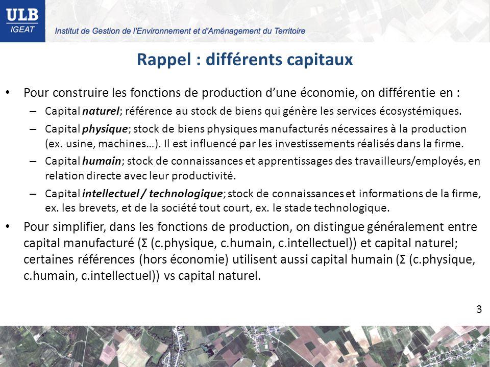 Pour construire les fonctions de production dune économie, on différentie en : – Capital naturel; référence au stock de biens qui génère les services écosystémiques.