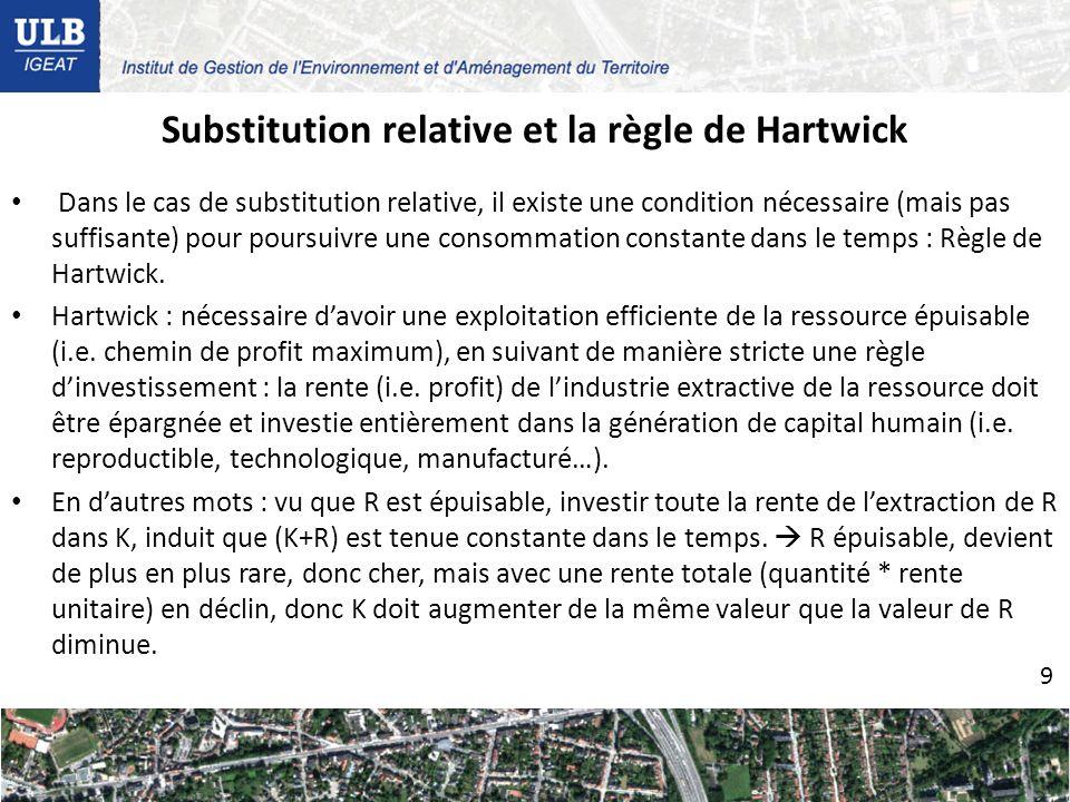 Substitution relative et la règle de Hartwick Dans le cas de substitution relative, il existe une condition nécessaire (mais pas suffisante) pour poursuivre une consommation constante dans le temps : Règle de Hartwick.
