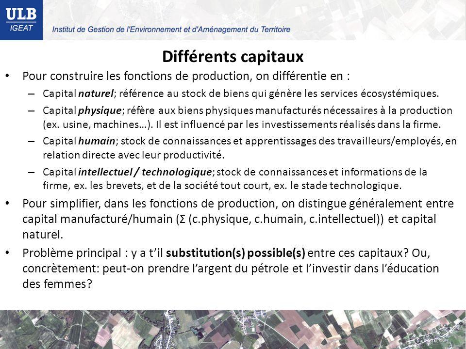 Différents capitaux Pour construire les fonctions de production, on différentie en : – Capital naturel; référence au stock de biens qui génère les services écosystémiques.