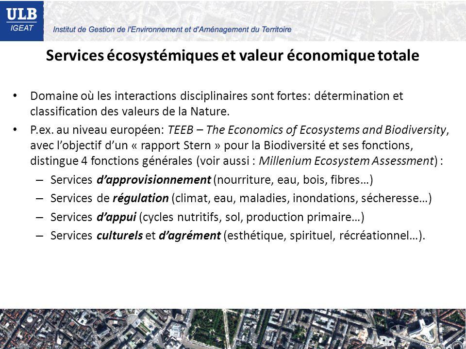 Services écosystémiques et valeur économique totale