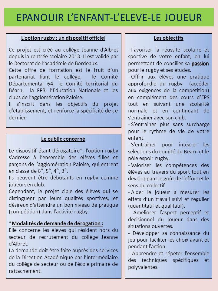 Le suivi de lélève et du joueur La réussite scolaire et lépanouissement de chaque élève sont prioritaires sur la performance sportive Lélève - Réunion de présentation parents / équipe éducative de loption au mois de septembre.