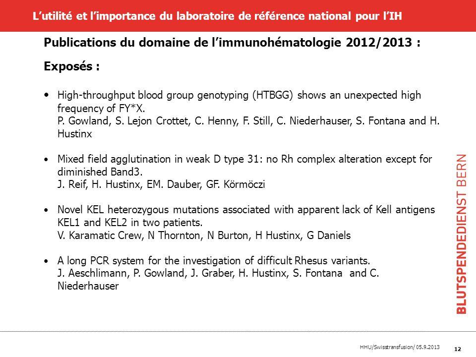 HHU/Swisstransfusion/ 05.9.2013 12 Lutilité et limportance du laboratoire de référence national pour lIH Publications du domaine de limmunohématologie