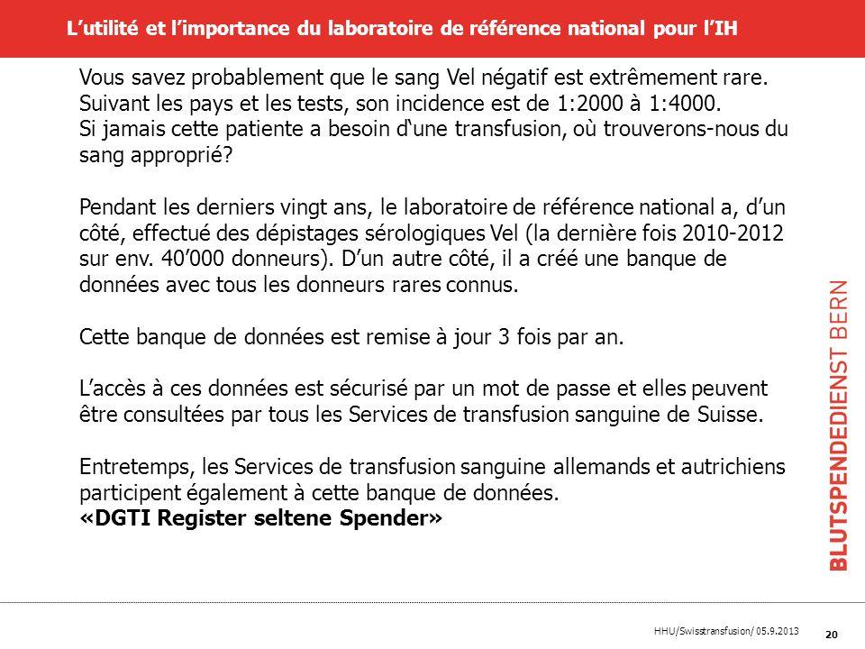 HHU/Swisstransfusion/ 05.9.2013 20 Lutilité et limportance du laboratoire de référence national pour lIH Vous savez probablement que le sang Vel négat