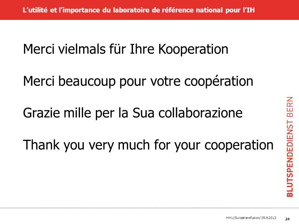 HHU/Swisstransfusion/ 05.9.2013 24 Lutilité et limportance du laboratoire de référence national pour lIH Merci vielmals für Ihre Kooperation Merci bea