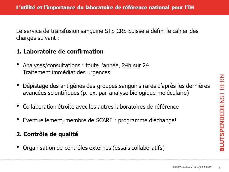 HHU/Swisstransfusion/ 05.9.2013 5 Lutilité et limportance du laboratoire de référence national pour lIH Le service de transfusion sanguine STS CRS Sui