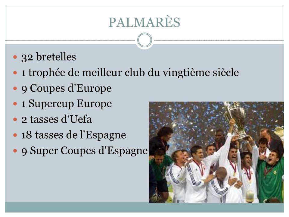 PALMARÈS 32 bretelles 1 trophée de meilleur club du vingtième siècle 9 Coupes d'Europe 1 Supercup Europe 2 tasses dUefa 18 tasses de l'Espagne 9 Super