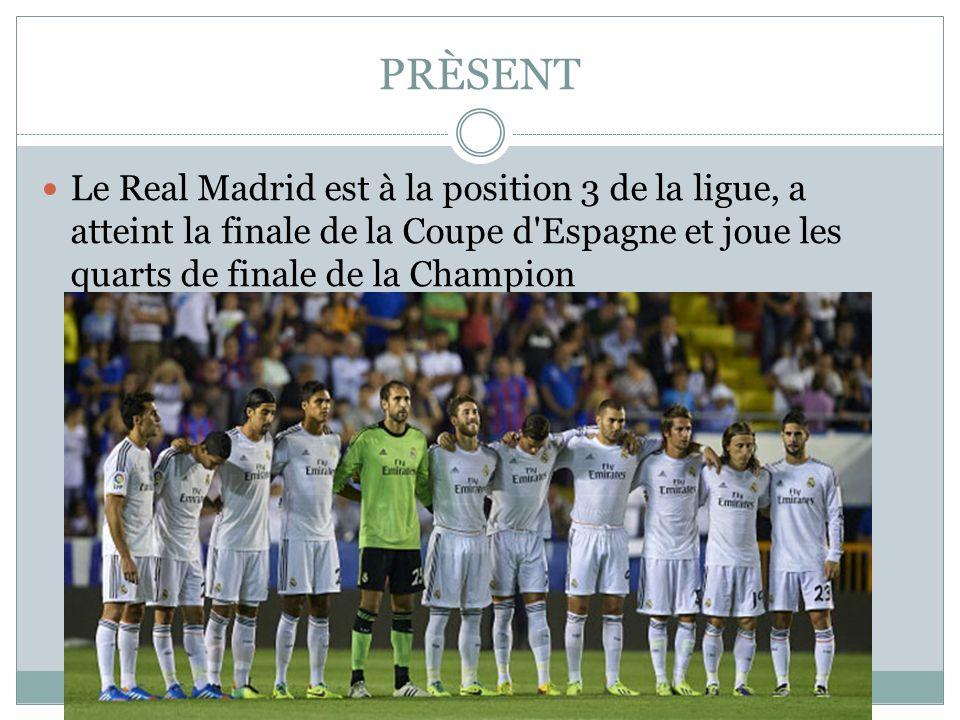 PRÈSENT Le Real Madrid est à la position 3 de la ligue, a atteint la finale de la Coupe d'Espagne et joue les quarts de finale de la Champion