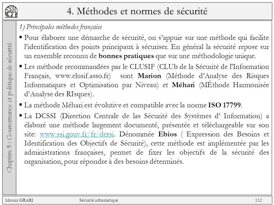 4. Méthodes et normes de sécurité 1) Principales méthodes française Pour élaborer une démarche de sécurité, on sappuie sur une méthode qui facilite li