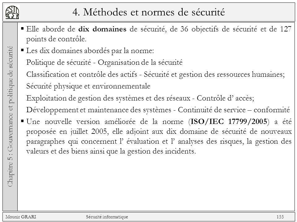 4. Méthodes et normes de sécurité Elle aborde de dix domaines de sécurité, de 36 objectifs de sécurité et de 127 points de contrôle. Les dix domaines
