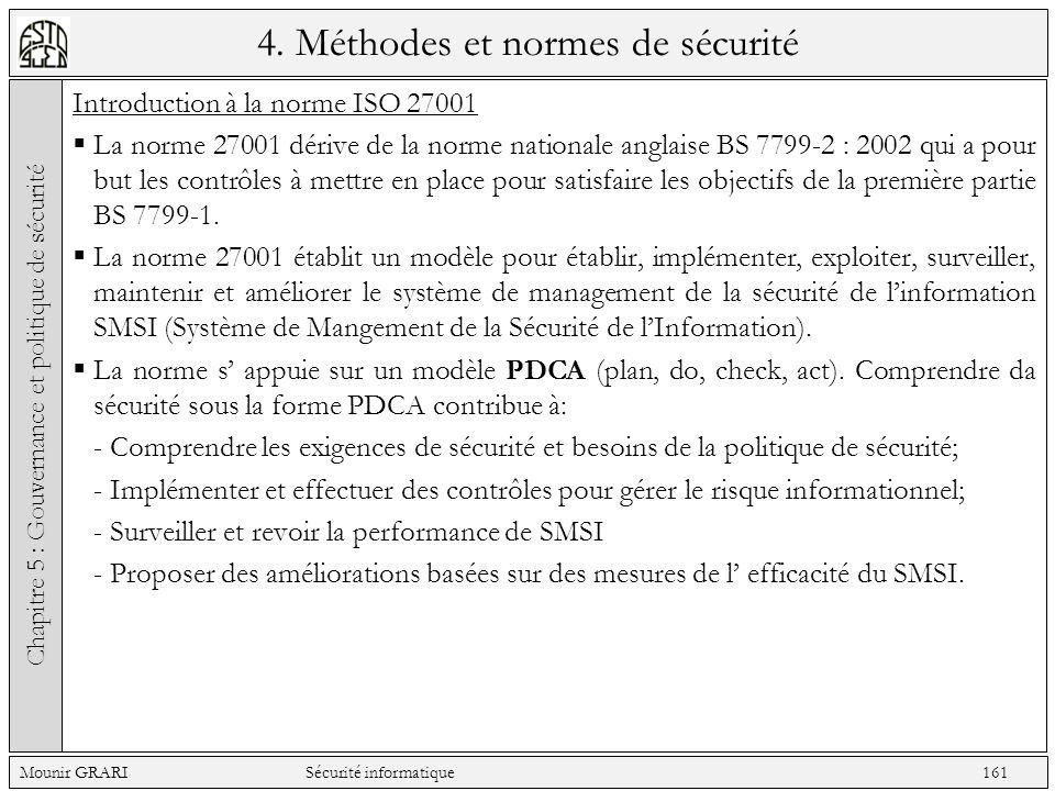 4. Méthodes et normes de sécurité Introduction à la norme ISO 27001 La norme 27001 dérive de la norme nationale anglaise BS 7799-2 : 2002 qui a pour b