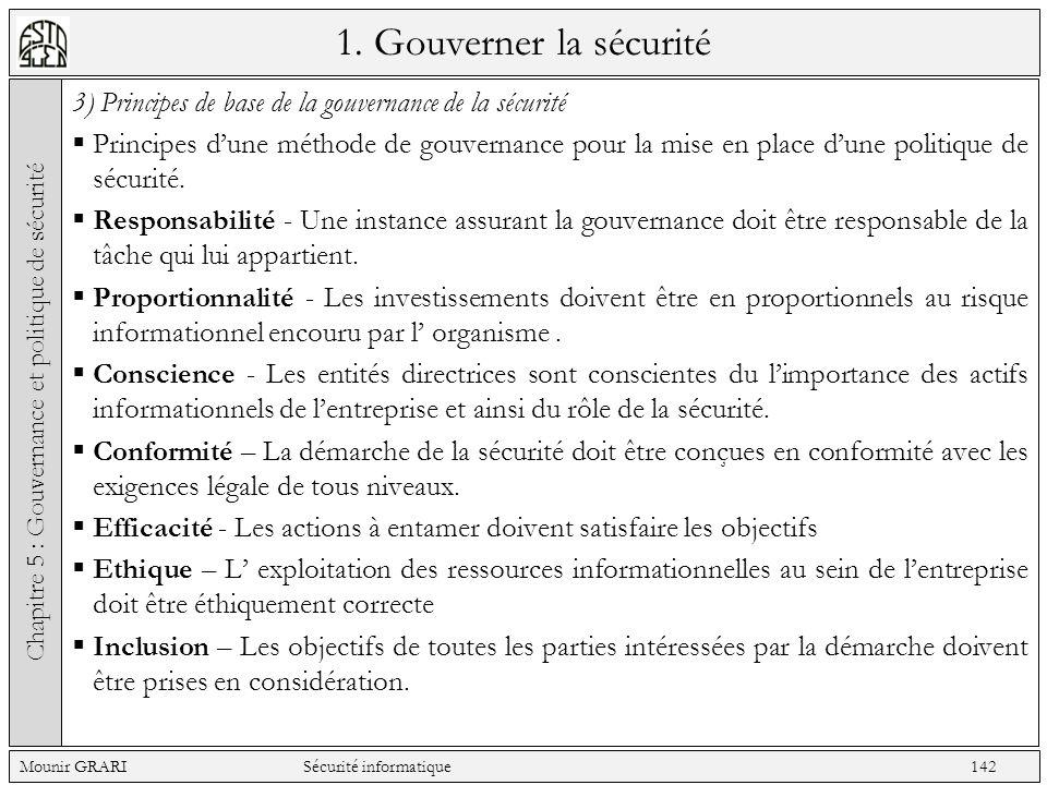 1. Gouverner la sécurité 3) Principes de base de la gouvernance de la sécurité Principes dune méthode de gouvernance pour la mise en place dune politi