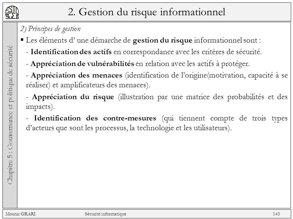2. Gestion du risque informationnel 2) Principes de gestion Les éléments d une démarche de gestion du risque informationnel sont : - Identification de