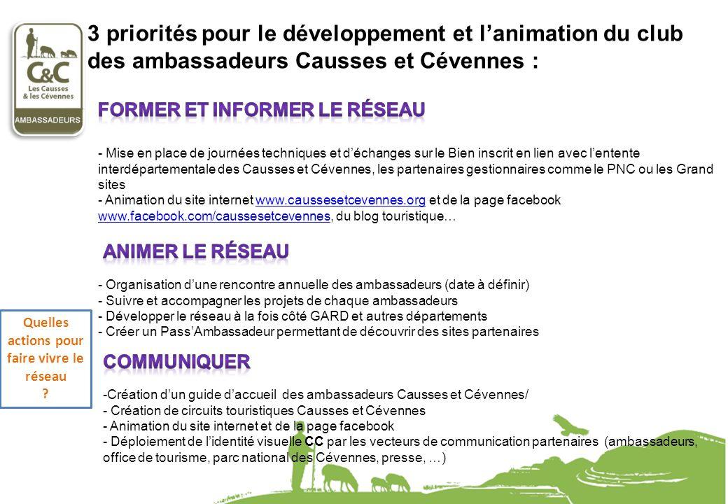 3 priorités pour le développement et lanimation du club des ambassadeurs Causses et Cévennes : - Mise en place de journées techniques et déchanges sur