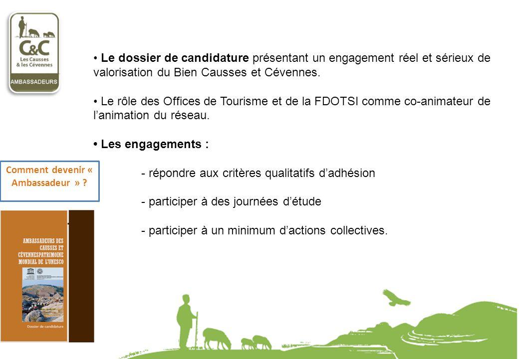 Le dossier de candidature présentant un engagement réel et sérieux de valorisation du Bien Causses et Cévennes. Le rôle des Offices de Tourisme et de