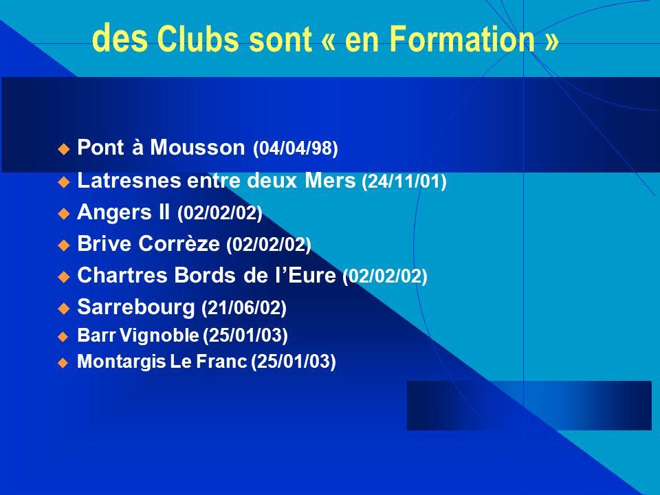 des Clubs sont « en Formation » u Pont à Mousson (04/04/98) u Latresnes entre deux Mers (24/11/01) u Angers II (02/02/02) u Brive Corrèze (02/02/02) u