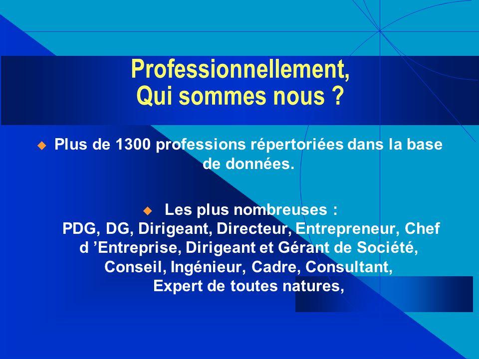 Professionnellement, Qui sommes nous ? Plus de 1300 professions répertoriées dans la base de données. Les plus nombreuses : PDG, DG, Dirigeant, Direct